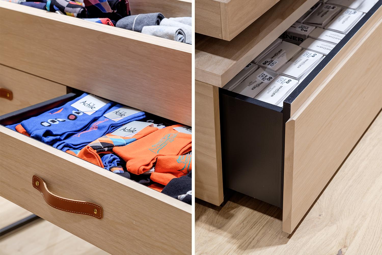 zoom mobilier de magasin de vêtements
